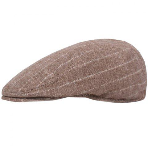 Literary Youth Beret Male Cap Striped Casual Hat - LIGHT KHAKI