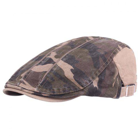 Camouflage Male Female Cap Outdoor Visor Washed Cotton Cloth Beret - BLANCHED ALMOND