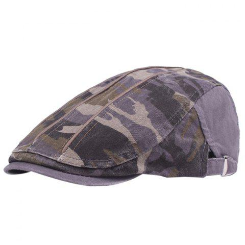 Camouflage Male Female Cap Outdoor Visor Washed Cotton Cloth Beret - GRAPE