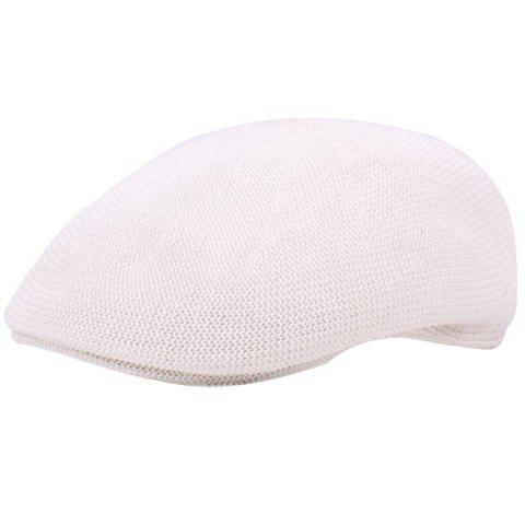 Casual Breathable Outdoor Hollow-out Visor Forward Hat Cap Beret - WHITE