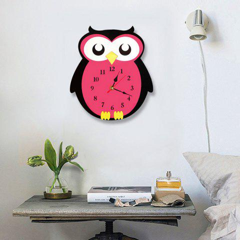 Cartoon Owl Design Quiet Decorative Wall Clock for Children Room Kindergarten - ROSE RED