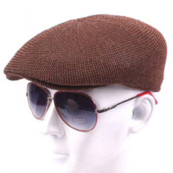 Casual Breathable Outdoor Hollow-out Visor Forward Hat Cap Beret - BROWN