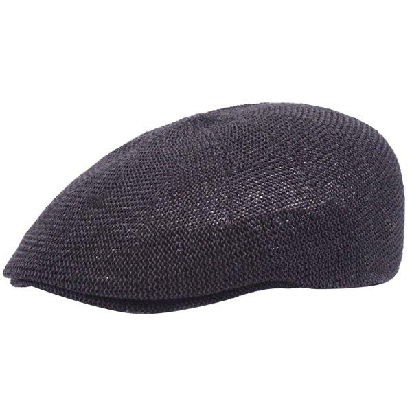 Casual Breathable Outdoor Hollow-out Visor Forward Hat Cap Beret - BLACK