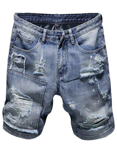 7bde47ea4a6 2019 Stylish Breathable Ripped Denim Shorts for Men In BABY BLUE 32 ...