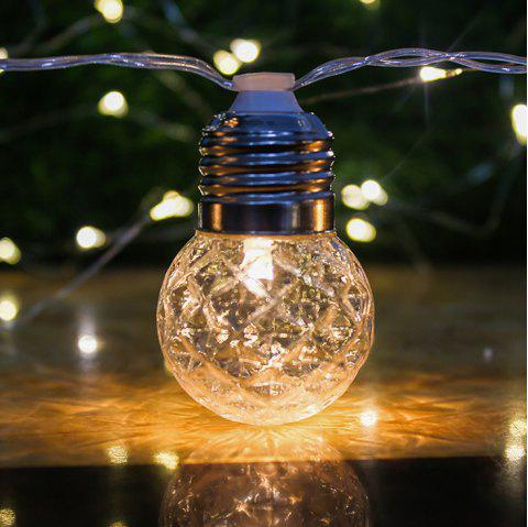 LED Solar Waterproof Warm White String Light with 10 Bulb - TRANSPARENT
