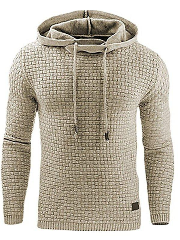 Leisure Hoodie Long Sleeve Casual Fleece for Men - LIGHT KHAKI S