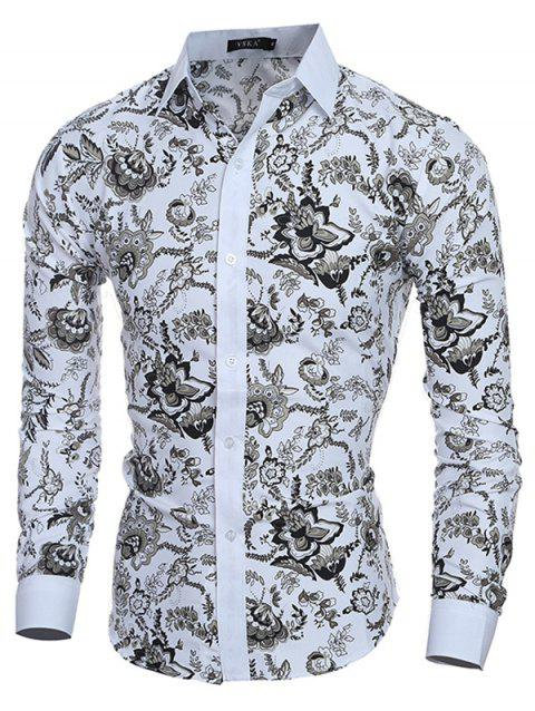 Men Stylish Turn Down Collar Long Sleeve Shirt with Flowers Motifs - WHITE M