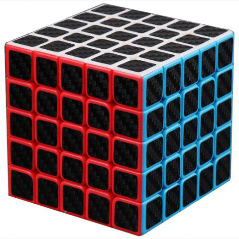 Carbon Fibre Five Order Magic Cube Smooth Puzzle Toy for Playing - multicolor