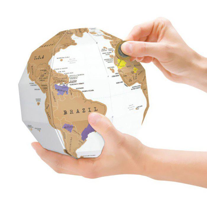 Scratch Globe DIY Built-up Type Stereoscopic Educational Tellurion - WHITE