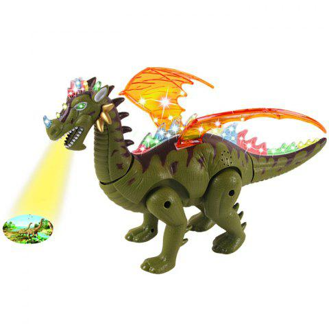 Kids Simulation Lighting Walking Sound Projection Electric Dinosaur Toy with Wings - SEAWEED GREEN