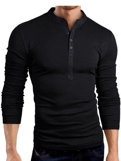 Solid Color Fashionable V-neck Men T-shirt with Long Sleeve - BLACK L
