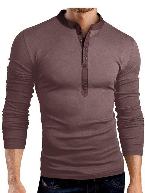 Solid Color Fashionable V-neck Men T-shirt with Long Sleeve - COFFEE 2XL