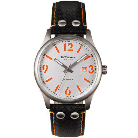 InTimes IT - SD1066L Unisex Watch with Steel Case Genuine Leather Band - ORANGE