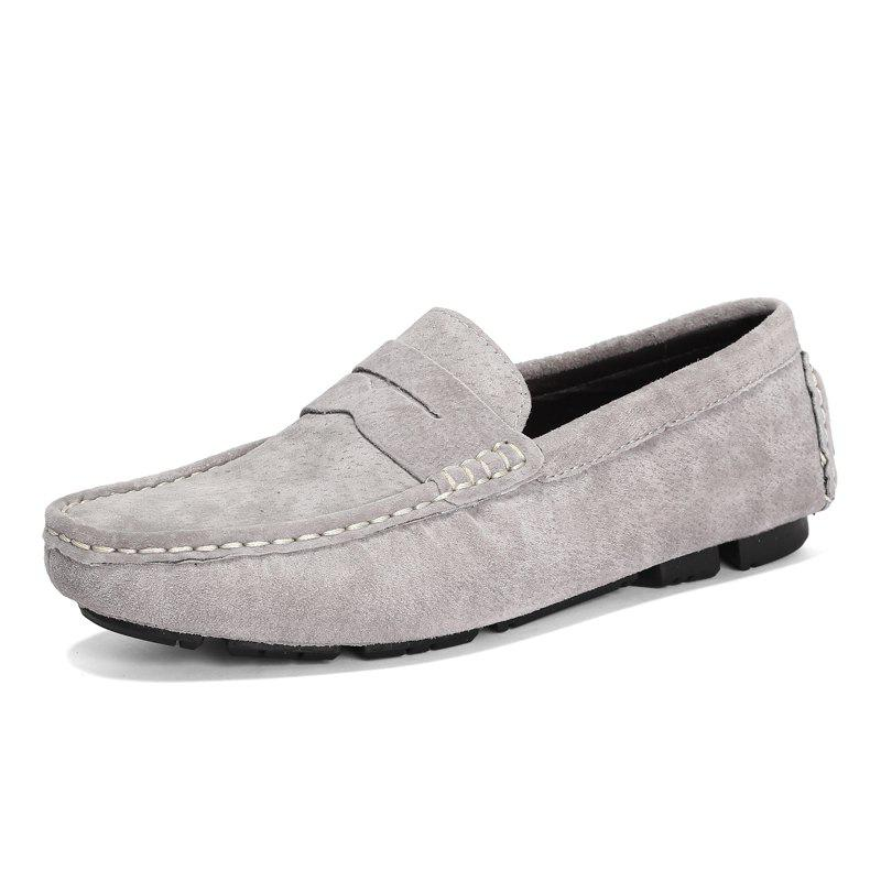Men Leisure Soft Slip-on Leather Flat Shoes - LIGHT GRAY 47