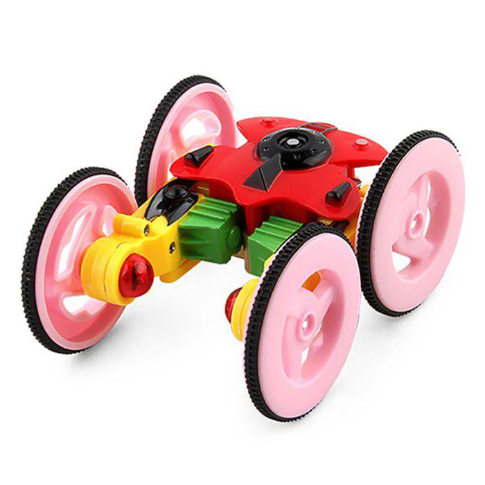 Kids Rotating Light Stunt Vehicle Rechargeable Off-road Remote Control Car Toys - LIGHT PINK