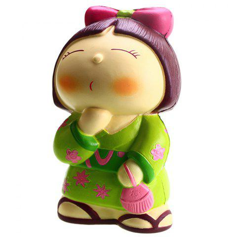 VLAMPO Creative PU Japanese Doll Squishy Toy for Relieving Pressure 1pc - HUMMINGBIRD GREEN