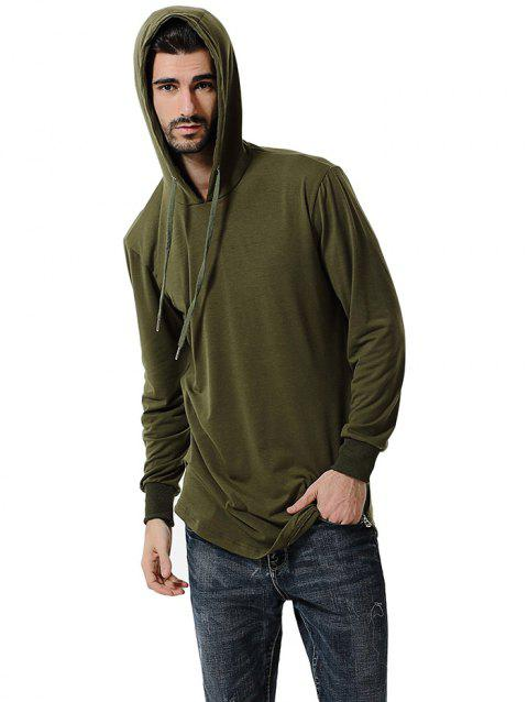 Comfortable Men Large Size Casual Long Sleeved Hoodie - ARMY GREEN 3XL