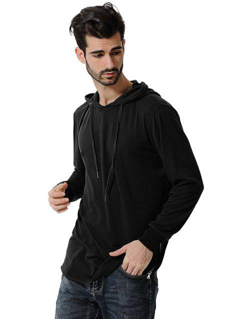 Comfortable Men Large Size Casual Long Sleeved Hoodie - BLACK 2XL