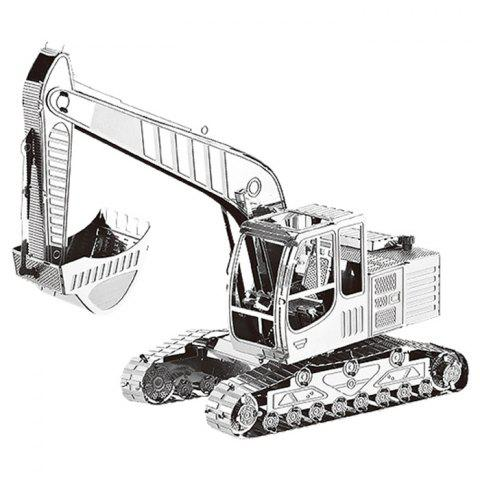 3D Metal Jigsaw Puzzle Model Toy Crawler Excavator - SILVER
