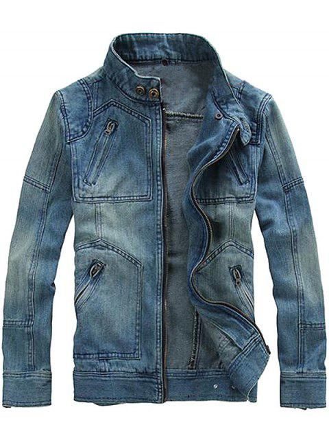 Fashionable Men Stand Collar Denim Jacket with Detachable Hat - BLUE JAY M