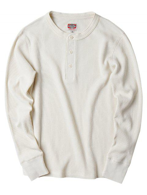 Trendy Solid Color Long Sleeve Cotton T-shirt for Men - WHITE XL