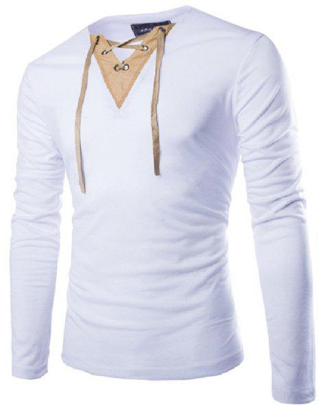 Fashion Creative V Neck Casual Long Sleeves T-shirt for Men - WHITE L
