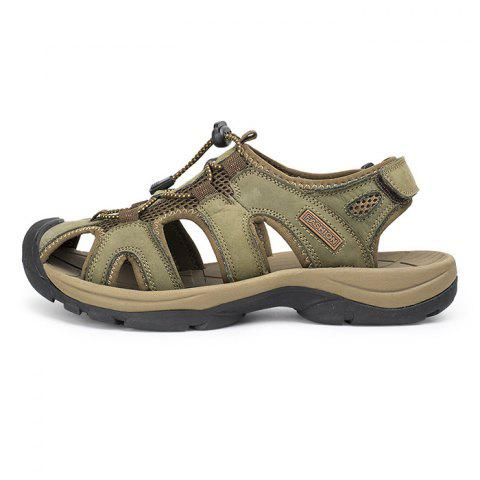 Breathable Close-Toe Non-Slip Adjustable Sandals - LIGHT KHAKI 44