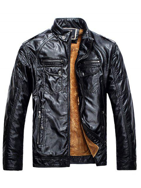 Men Fashionable Stand Collar Short Pile Leather Jacket - BLACK 4XL