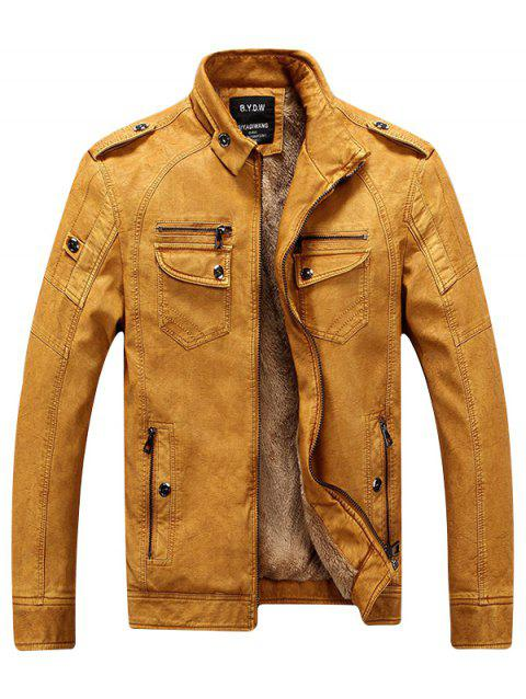 Men Fashionable Stand Collar Short Pile Leather Jacket - SCHOOL BUS YELLOW M