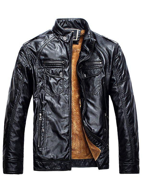 Men Fashionable Stand Collar Short Pile Leather Jacket - BLACK L