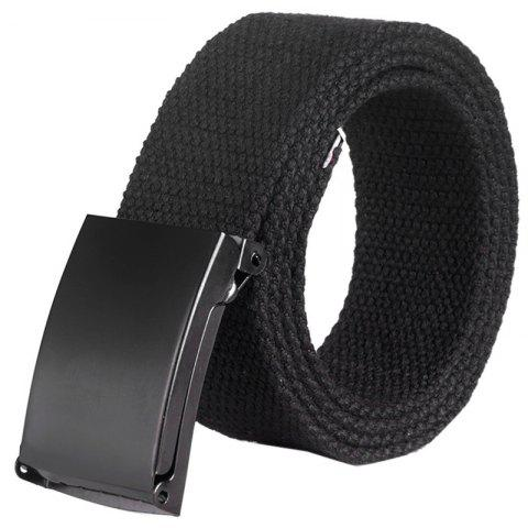 Unisex Leisure Canvas Belt with Smoothing Buckle - BLACK