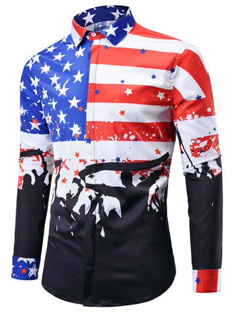 Trendy 3D Flag Print Large Size Long Sleeve Shirt for Men - RED 2XL