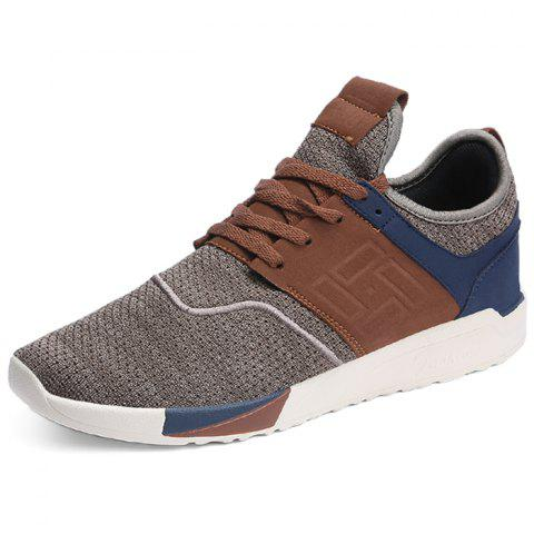 Men Fashionable Breathable Mesh Running Sneakers - BROWN 42