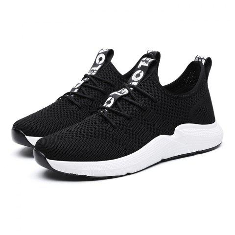 Anti-slip Breathable Color Matching Casual Sports Shoes for Men - BLACK 44