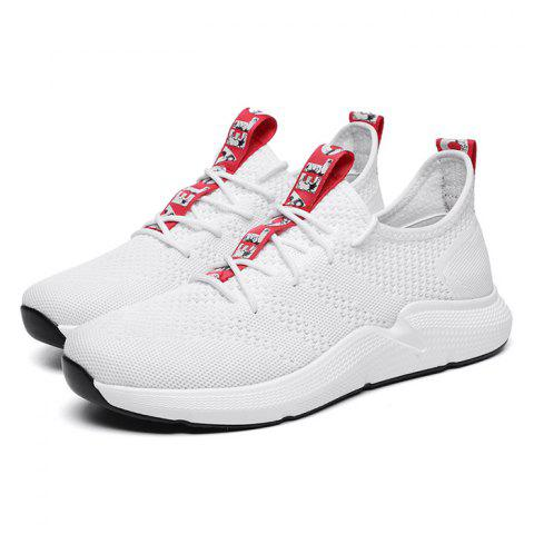 Anti-slip Breathable Color Matching Casual Sports Shoes for Men - MILK WHITE 44