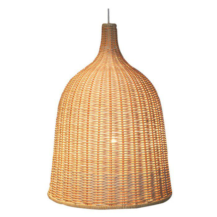 Bamboo Chandelier Southeast Asia Tropical DIY Wicker Rattan Shades Weave Hanging Light - LIGHT BROWN