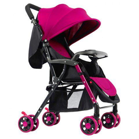 GIFT Lightweight Foldable Four-wheeled Stroller for Baby - ROSE RED