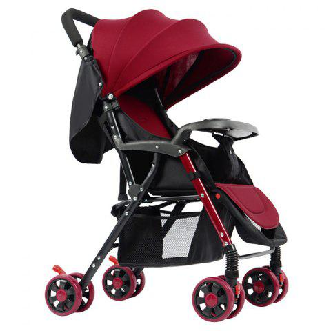 GIFT Lightweight Foldable Four-wheeled Stroller for Baby - RED WINE