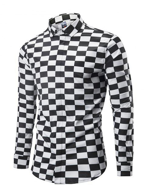 Classic Black and White Lattices Printed Comfortable Long Sleeve Shirt for Men - NATURAL BLACK M