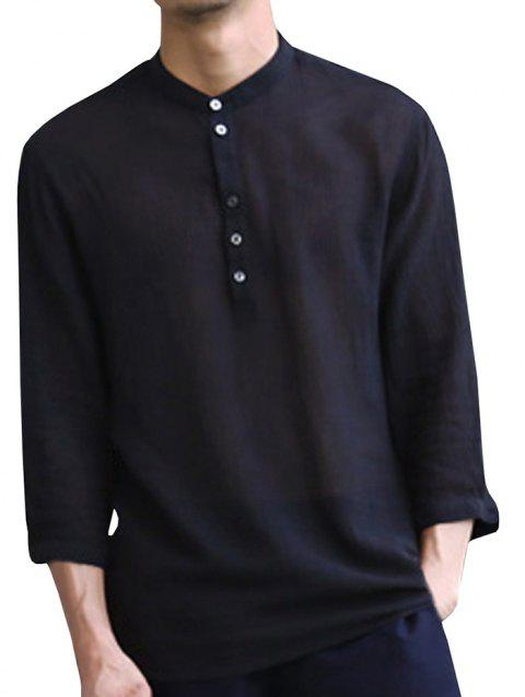 Solid Color Half-sleeved V-tie with Button Casual Shirt for Men - BLACK S
