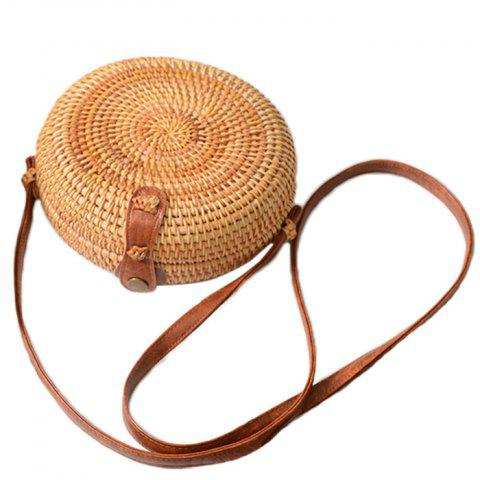 Retro Handmade Vine Round Storage Bag for Carrying Small Belongings - LIGHT BROWN