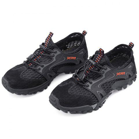 Outdoor Breathable Lace-up Sneakers for Men - BLACK 38