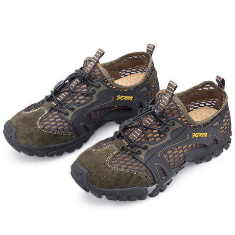 Outdoor Breathable Lace-up Sneakers for Men - DARK KHAKI 40