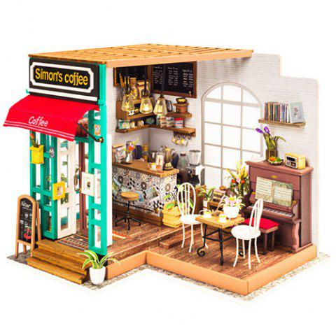 Robotime Creative DIY Wooden Cabin 3D Jigsaw Puzzle Hand-assembled Coffee House - multicolor