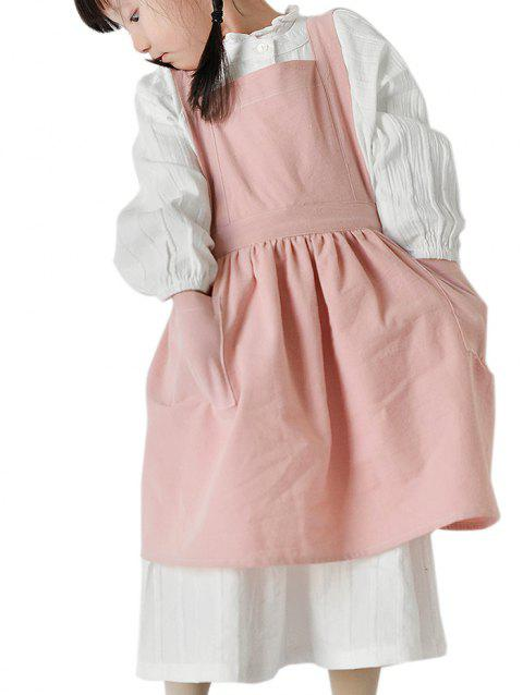 Children Cotton Linen Apron for Cooking Baking - PINK S