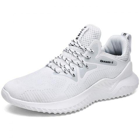 Trendy Lace-up Anti-skid Casual Sneakers for Men - WHITE 42