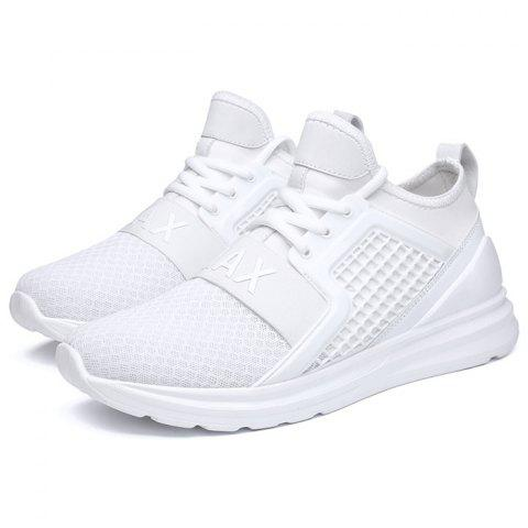 Fashion Breathable Lace-up Comfort Casual Sneakers for Men - WHITE 39