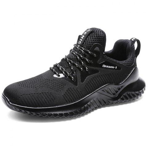 Trendy Lace-up Anti-skid Casual Sneakers for Men - BLACK 44