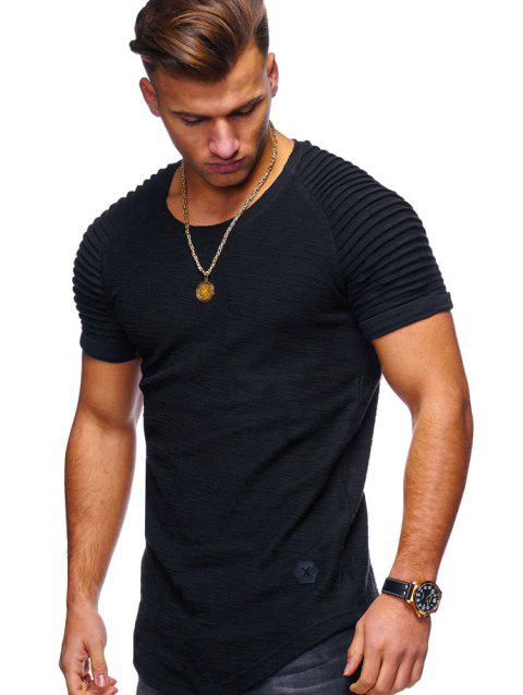Stylish Summer Solid Color Comfortable Short Sleeve T-shirt for Men - BLACK 3XL