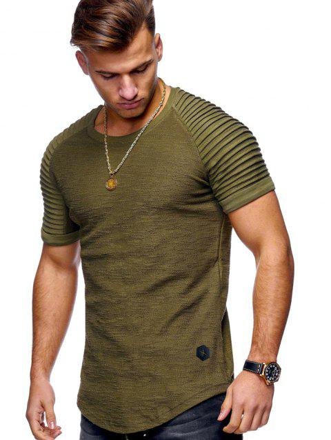 Stylish Summer Solid Color Comfortable Short Sleeve T-shirt for Men - FERN GREEN 3XL